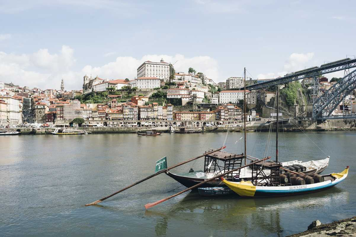 View of Porto from the south side of the River Douro, with rabelo boats in the foreground