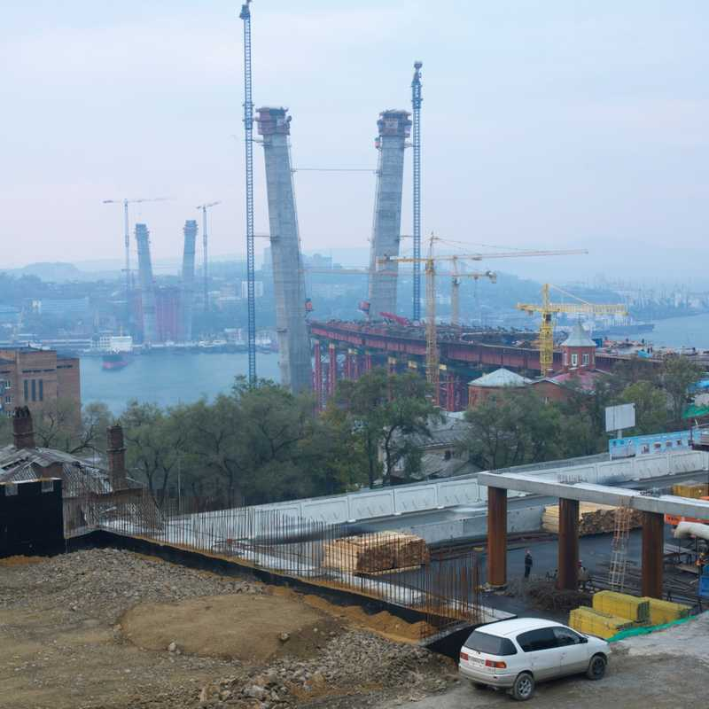 Bridge under construction linking the two sides of Vladivostok harbour