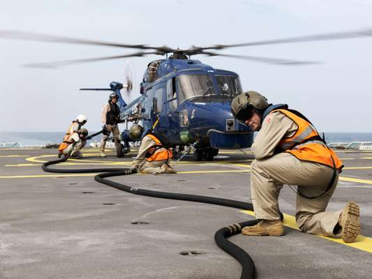 Refuelling the helicopter