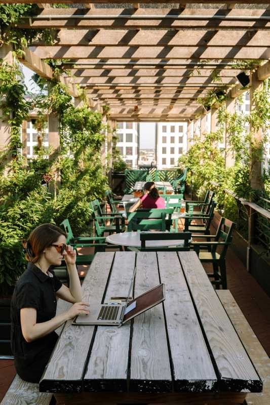 Guests working at Alto, the Ace Hotel New Orleans rooftop garden