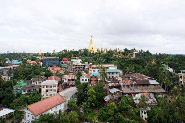 View of Shwedagon Pagoda in Yangon from Vista Bar terrace