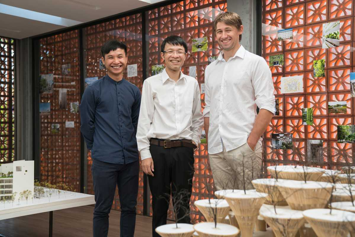 Architect Takashi Niwa (centre) with partners