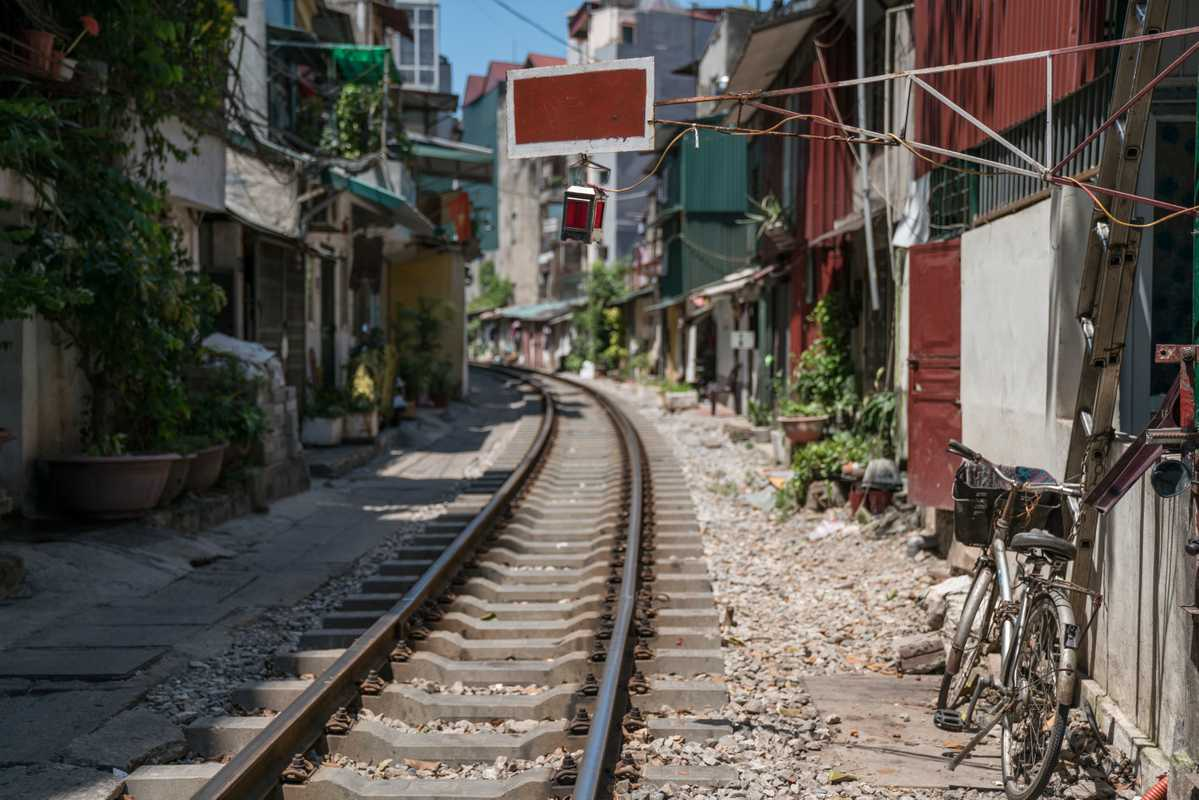 French-built railway line runs at street level