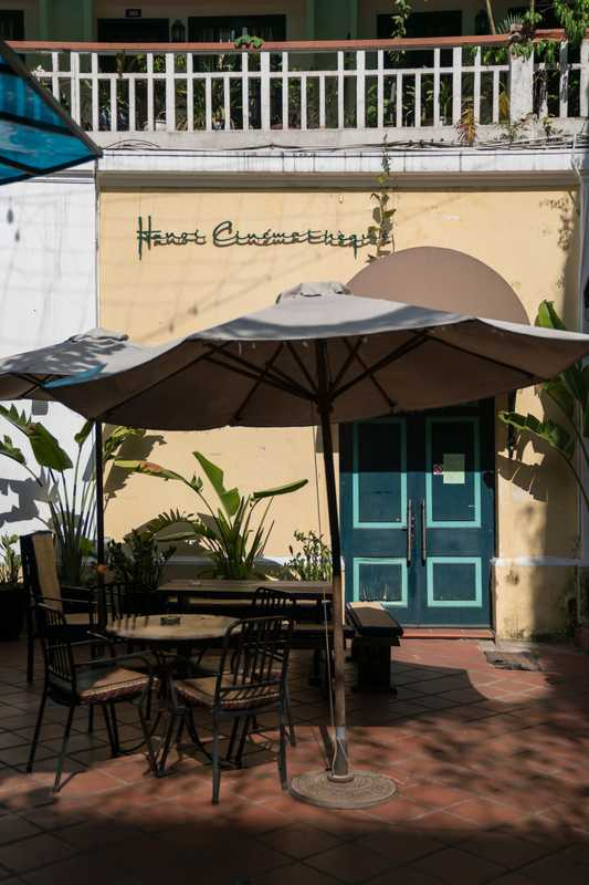Shady café at the Hanoi Cinematheque