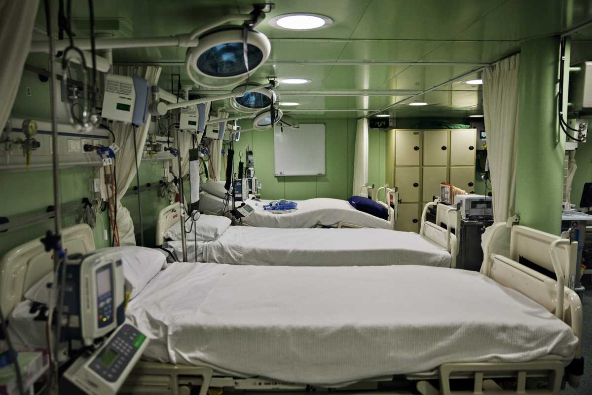 Some of the 40 beds that fill the ship's hospital facility