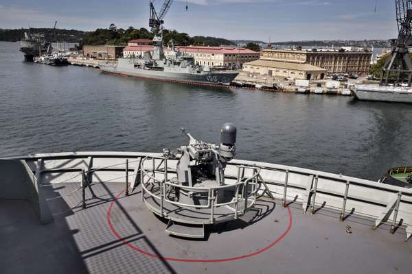 One of the ship's four 20mm remote weapons stations