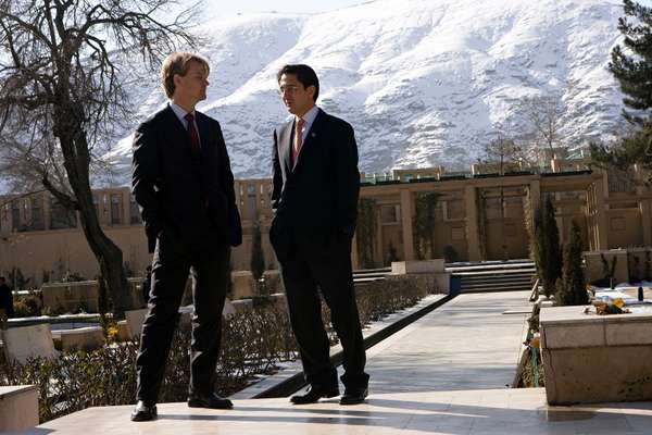 Jawad with a US diplomat in the grounds of the Serena hotel, Kabul
