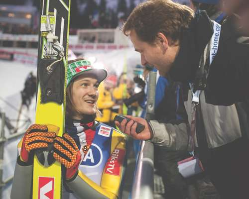 Tom Hilde, one of Norway's best ski-jumpers, talks to Hahn