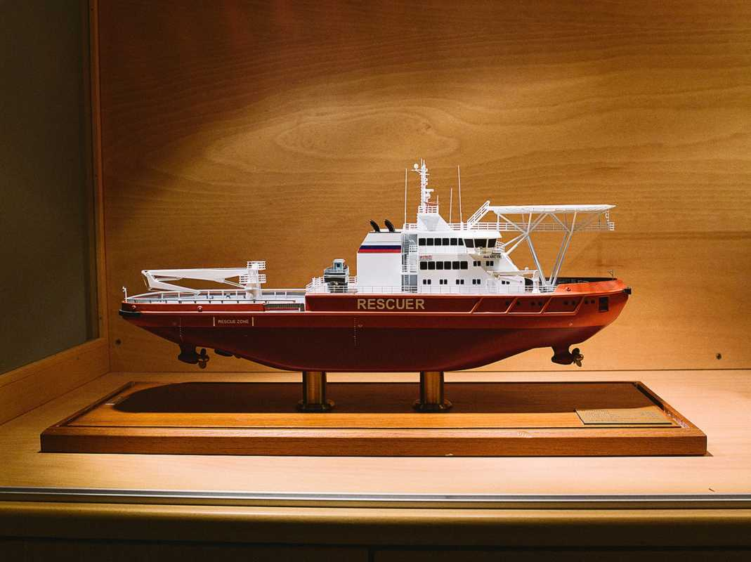 Model of icebreaking multipurpose emergency and rescue vessel
