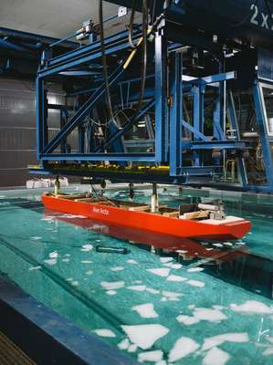 Scale model icebreaking cargo ship