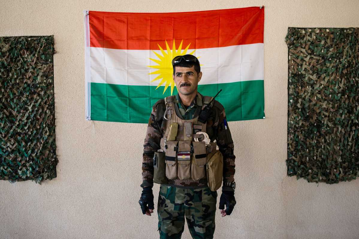Peshmerga soldier at his base  outside Makhmour