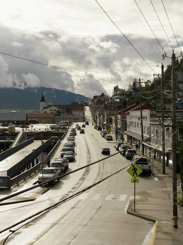 The rain breaks in Ketchikan, giving the streets a golden glow
