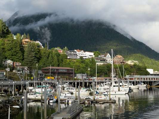 Houses on the hill above Ketchikan's boat harbour