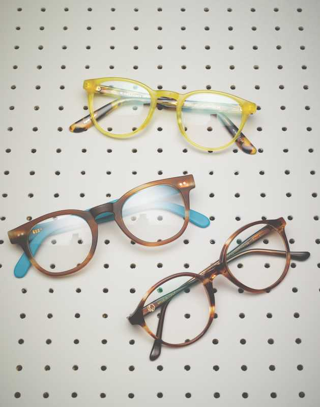 Handmade spectacles: (top to bottom) Yellow Plus, RVS by V, Lunettes Kollektion