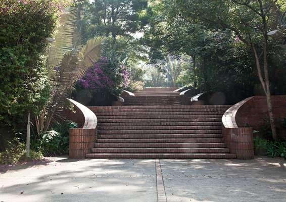 A series of stairs and pathways leads to downtown Bogotá