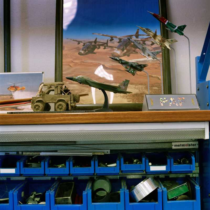 Models on a worker's bench at Aerosud