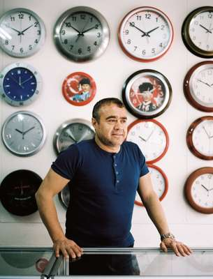 Osman Ulas, head of Ulas factory, which specialises in pins, clocks and various Ataturk accessoriesa