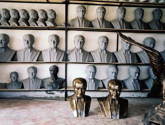 Studio of sculptor Necati Inci, filled with Ataturk statues being completed