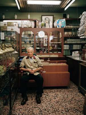 Uc Yildiz sweet shop in Beyoglu, a central neighbourhood of Istanbul, overlooked by a framed photograph of Ataturk