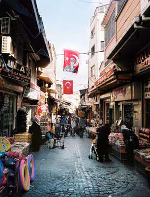 Main market place adorned with flags of Ataturk