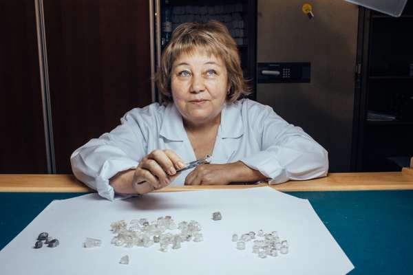 Anna Kirilovna, leading expert at Diamonds Sorting Center in Mirny