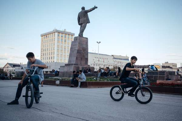 Teenagers riding their bikes in Lenin Square in the centre of Yakutsk