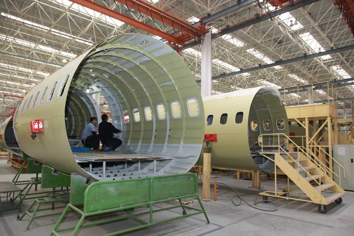 Aircraft fuselages destined for international customers of Xi'an Aircraft International Corporation