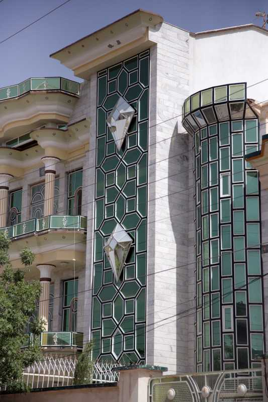 Huge glass diamonds are a popular exterior adornment on Herat houses