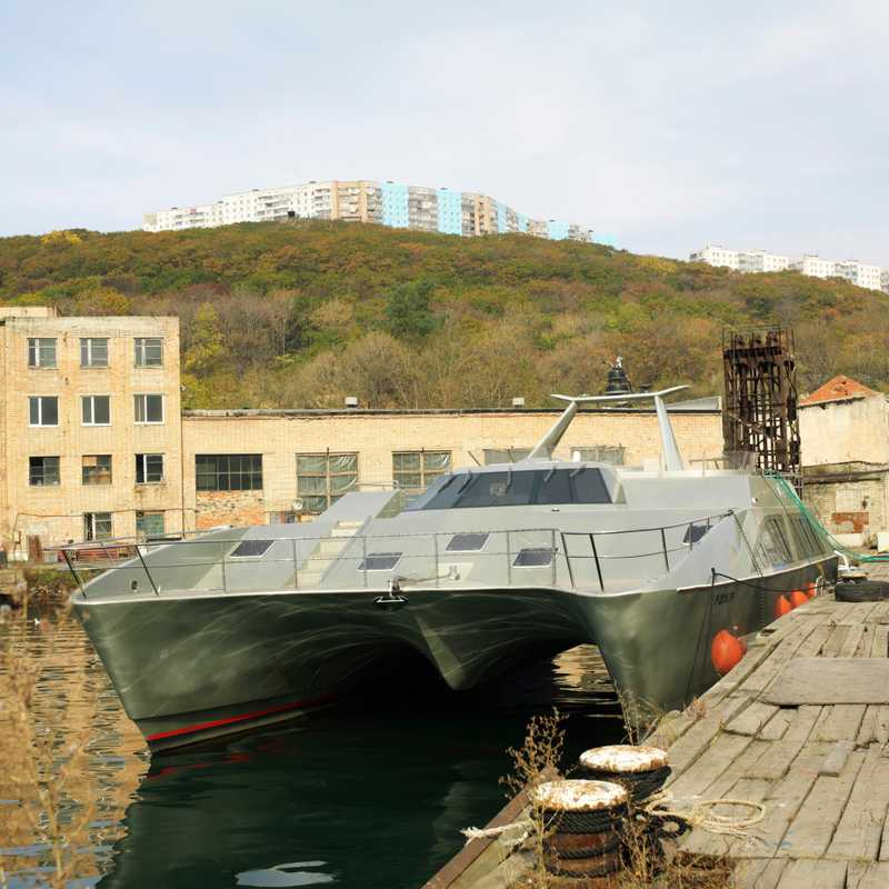 Luxury catamaran in old military docks