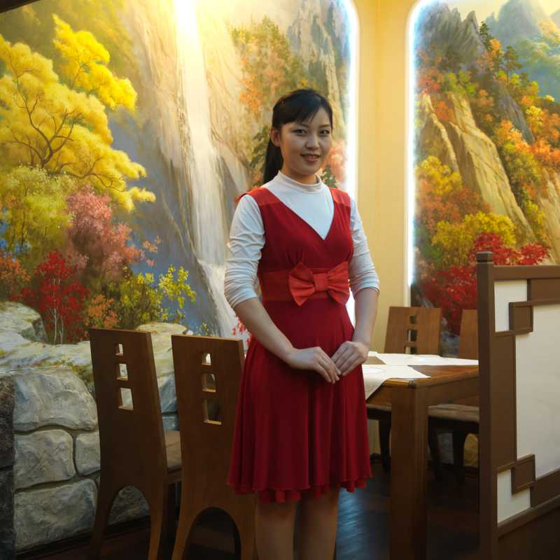 Waitress in a North Korean restaurant