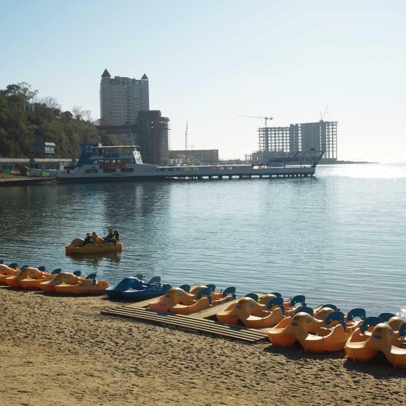 Central beach in Vladivostok. The hotel in the background is being built for the forthcoming APEC summit