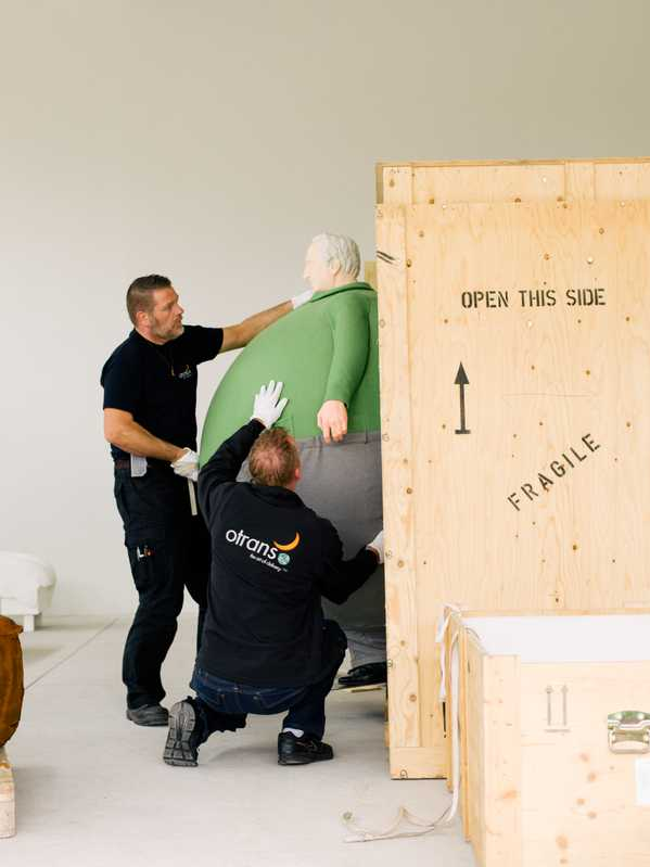 Putting a Wurm sculpture inside a shipping box