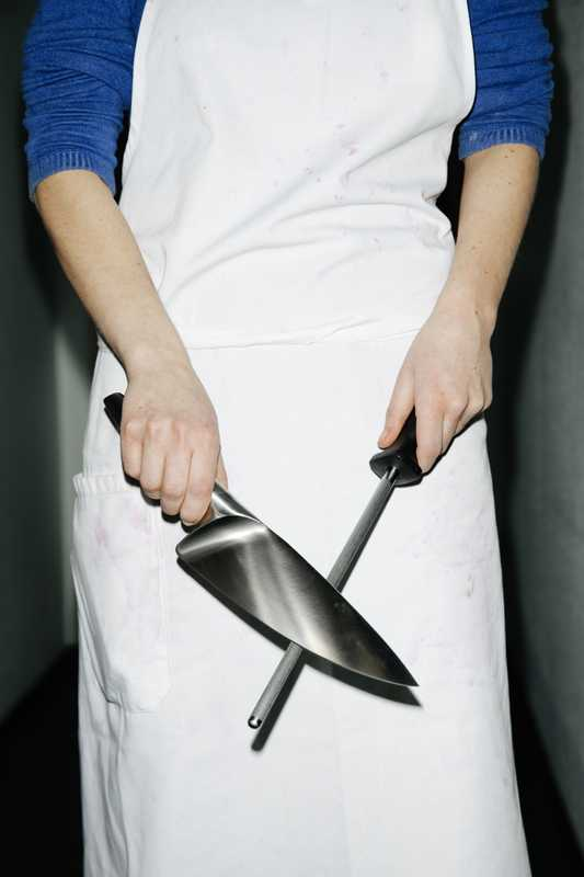 Knife and sharpener, made in collaboration with WMF