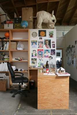 Wood has divided his cavernous space into different working areas