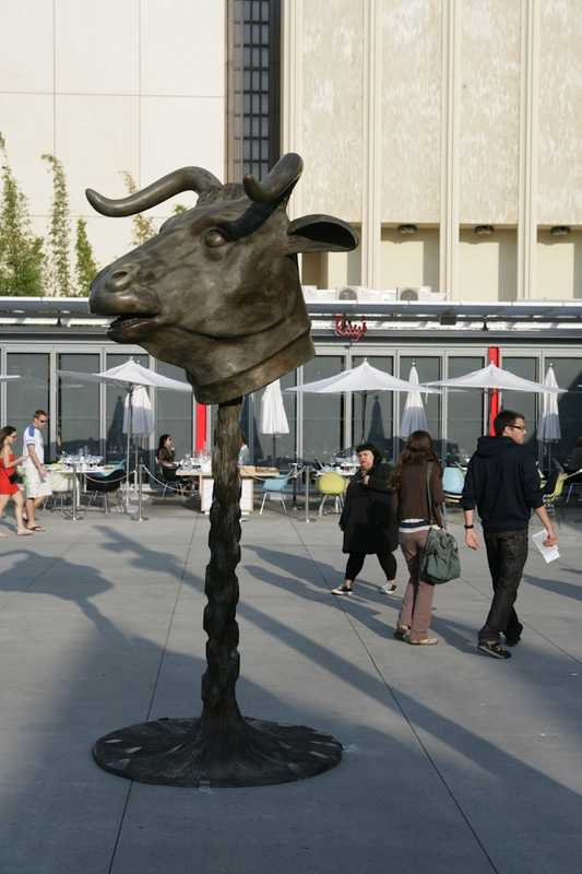 "Ai Weiwei's ""Zodiac Project"", installed in the North Piazza at LACMA"