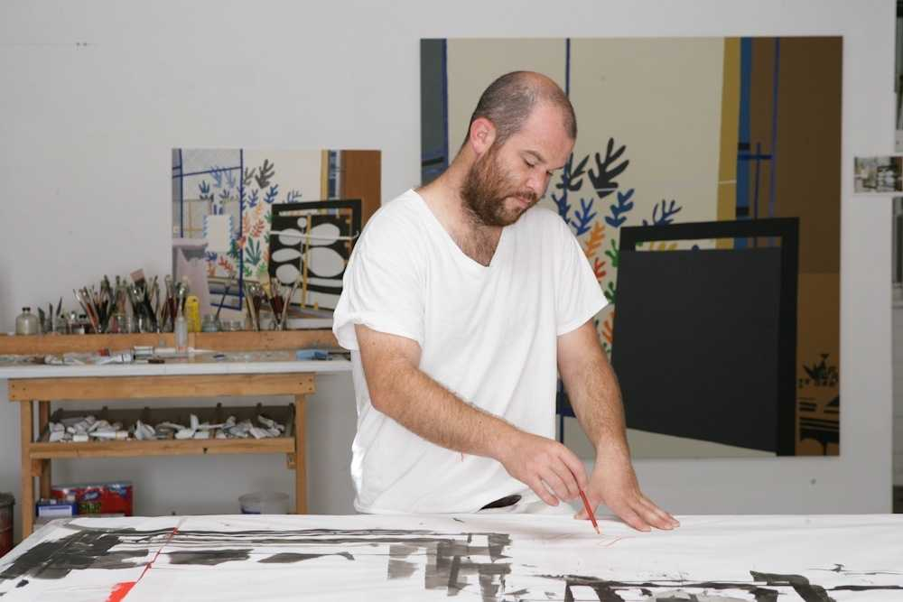 Painter Jonas Wood in his studio