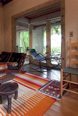 Living room with Mexican rug