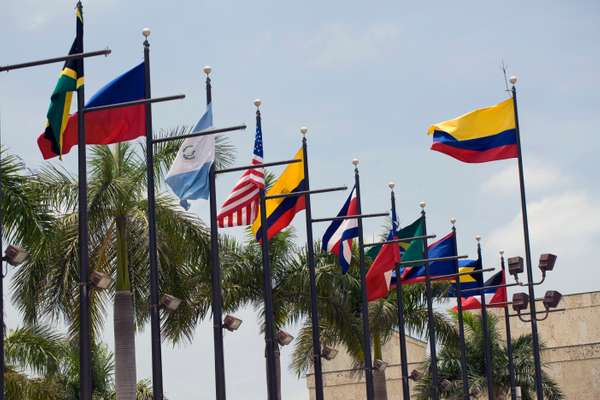 National flags at April's Summit of the Americas in Cartagena