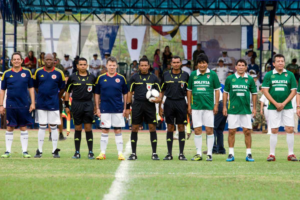 Colombia led by President Santos challenged Evo Morales (third from right) and Bolivia to a game of football