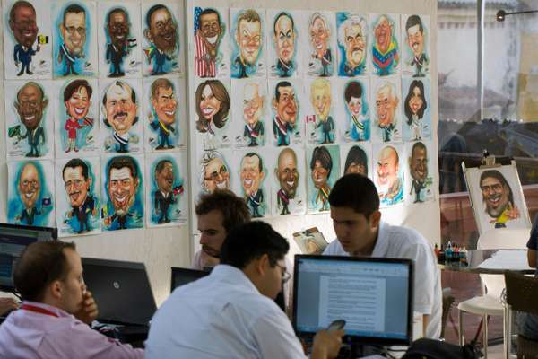 Caricatures of participating heads of state in the press centre