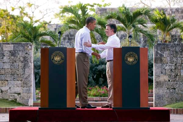 Santos and Barack Obama after a bilateral meeting in Cartagena
