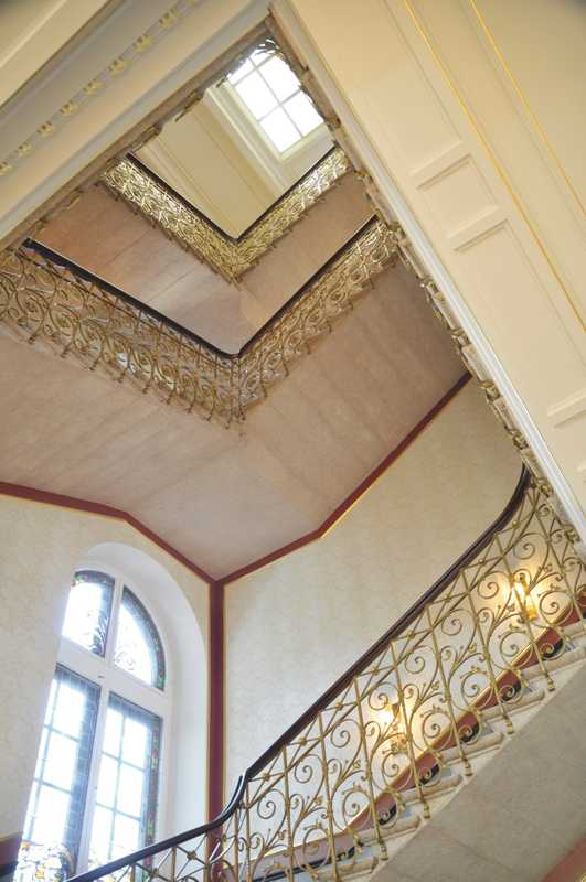 The original staircase, seen from the main lobby of the hotel