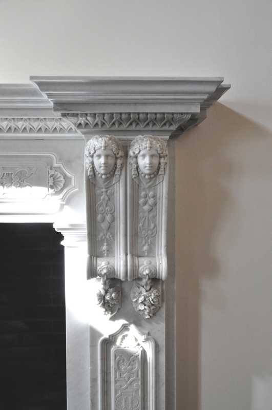 Detail from the original fireplace in side lobby leading to the bar area