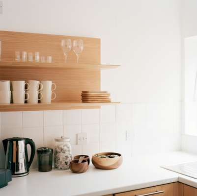 Each floor has a small kitchen area, stocked with Iittala cups and glassware and a Nespresso coffee machine