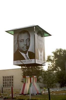 Poster of Prince Louis Rwagasore and President Melchior Ndadaye, both assassinated Burundi leaders