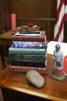 Books on the mayor's desk