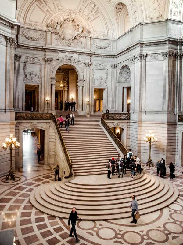 Interior rotunda and stairs at San Francisco City Hall