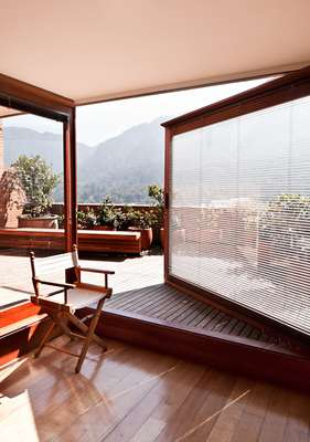 The study opens onto the terrace, which has stunning views of the mountains