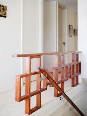 Rich-maple banister in Betty Hobson's residence