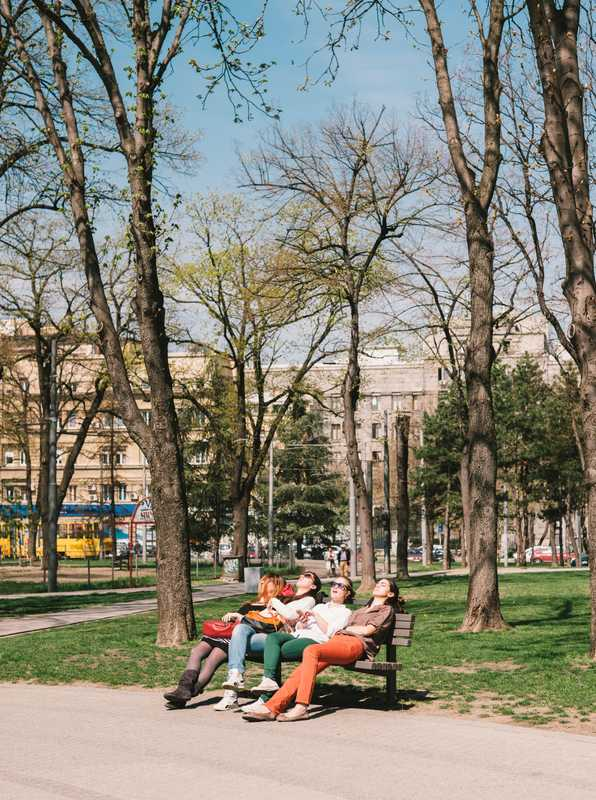 Relaxing at Tasmajdan Park in the Vracar neighbourhood of Belgrade